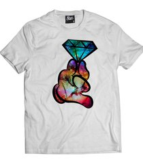 camiseta manga curta skull clothing mao diamante branco