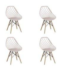 conjunto 04 cadeiras cloe base madeira  nude