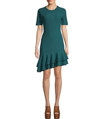 adeline ribbed ruffle trim dress