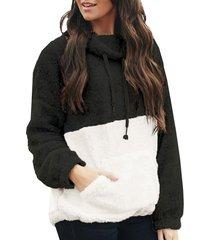 colorblock fluffy drawstring front pocket sweatshirt