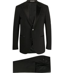 corneliani fine knit front pleated suit - black