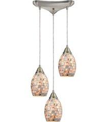 capri 3 light pendant in satin nickel and gray capiz shell