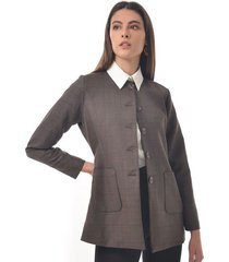 chaqueta para mujer en paño gris color cafe talla m