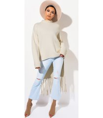 akira warmer days high low fringe sweater
