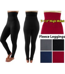 women slim tummy control high waist body shaper ankle length fleece leggings