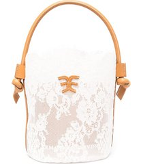 bucket bag in white lace