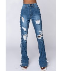 akira just a look lace up flare jeans