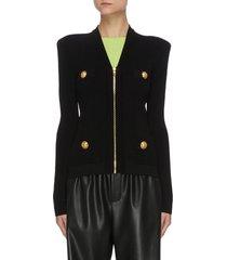 button embellished peak shoulder cardigan