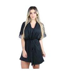 hobby roupão bravaa modas robe amarrar lingerie 238 preto