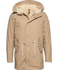 classic hooded parka with teddy and mesh lining parka jas beige scotch & soda