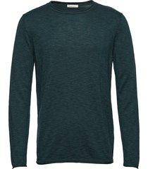 single knit with rool edge/vegan gebreide trui met ronde kraag groen knowledge cotton apparel