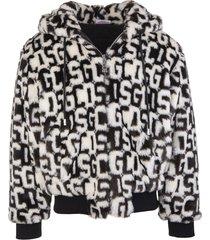 gcds man black and white fur effect hoodie