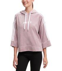 dkny sport logo bell-sleeve velour cropped hoodie