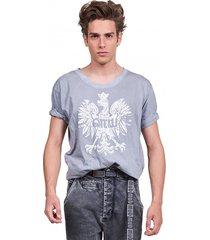 t-shirt męski z orłem szary