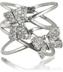 bernard delettrez designer rings, criss cross 18k white gold ring w/two diamond butterflies