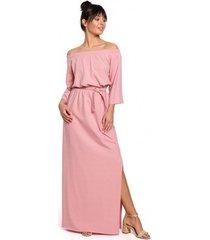 lange jurk be b146 off- shoulder maxi jurk - roze