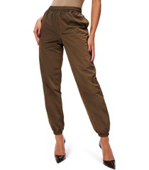 good american essential nylon track pants, size 1 in mocha001 at nordstrom