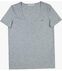 camiseta lacoste em jã©rsei cinza - cinza - feminino - dafiti