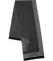 fringed logo wool-blend scarf