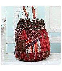 cotton shoulder bag, 'patchwork charm' (india)