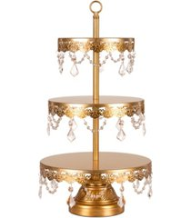 amalfi sophia 3-tier crystal-draped cupcake stand