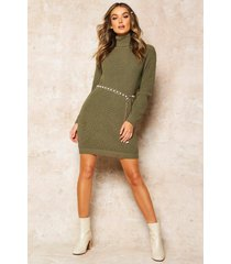 roll neck sweater dress, olive
