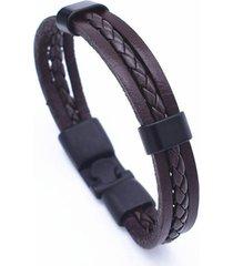 brazalete cuero trenzado cuerda voq ref 17a77 color cafe