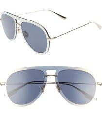 women's dior ultime1 57mm aviator sunglasses - gold/ blue