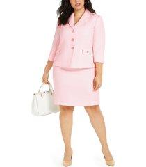 le suit plus size 3/4-sleeve skirt suit