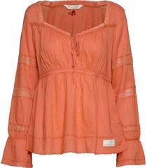 still my love blouse blouse lange mouwen oranje odd molly