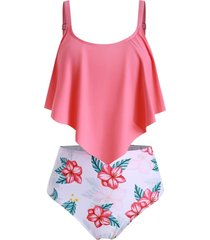 flounce high waisted floral tankini swimsuit