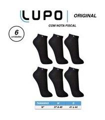 kit 6 pares meias masculina lupo soquete cano curto algodão