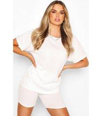 oversized t-shirt en fietsshort met korte coördinatie, crème