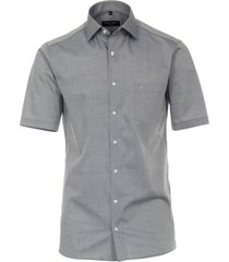 casamoda overhemd effen zilver korte mouw kent modern fit