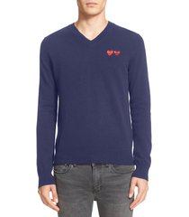 men's comme des garcons play twin hearts wool v-neck sweater, size xx-large - blue