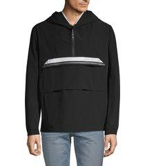 karl lagerfeld paris men's logo trim hooded pullover - black - size xxl