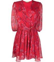 liu jo hibiscus floral-print wrap dress - red