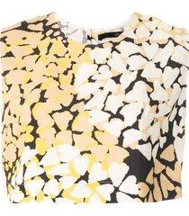 eva coração flor printed cropped top - yellow