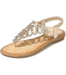 sandalias de playa con cuentas de diamantes de imitación para mujer-oro