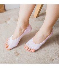 mezza punta traspirante anti-scivolo cotone traspirante calze bocca poco profonda invisibile dita pieno cinque dita calze