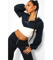 woman geborduurde fleece hoodie met contrasterende korte rits, navy