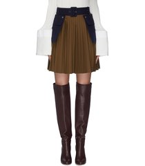 belted contrast pockets pleated skirt