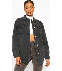 denim longline shirt jacket, black