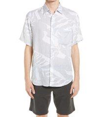 men's nn07 men's errico slim fit print short sleeve linen button-up shirt, size large - grey