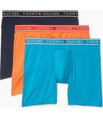 tommy hilfiger men's flx evolve stretch boxer brief 3pk sky blue/orange/navy - m