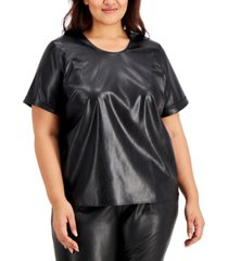alfani plus size faux-leather top, created for macy's