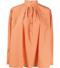 alberta ferretti striped poplin shirt - orange