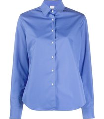 aspesi fitted curved hem shirt - blue