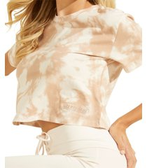 guess cotton marble-print crop top