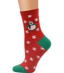 calze calde del cotone di inverno delle donne caldo natale partito carino calzini del tubo del pupazzo di neve del cervo di babbo natale